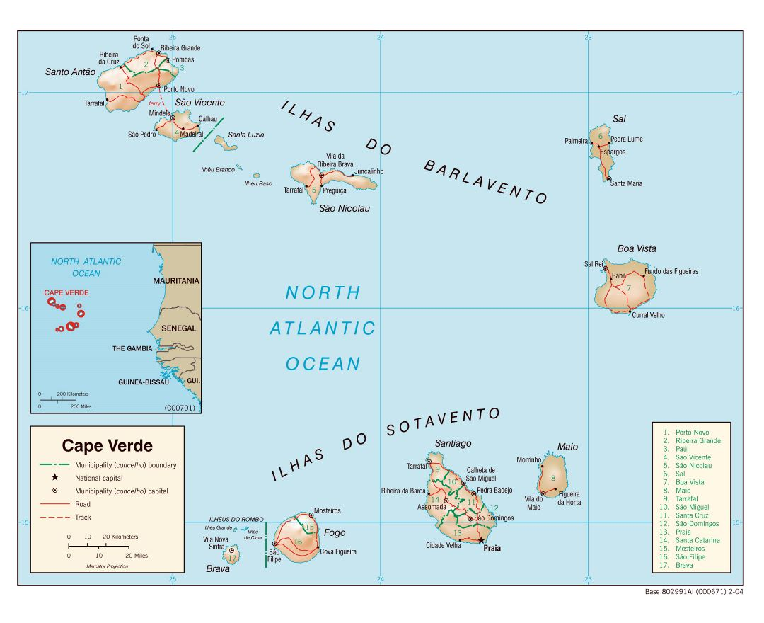 Large detailed political and administrative map of Cape Verde with relief, roads and major cities - 2004
