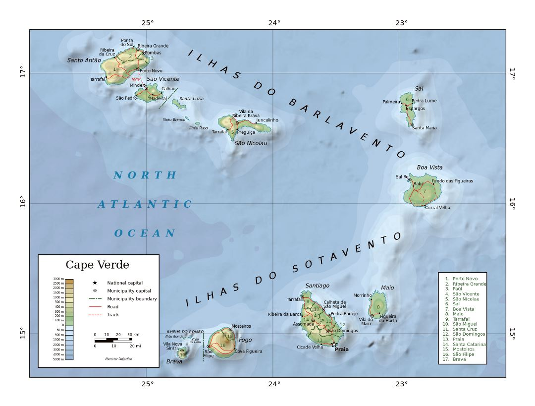 Large physical map of Cape Verde with administrative divisions, roads and cities