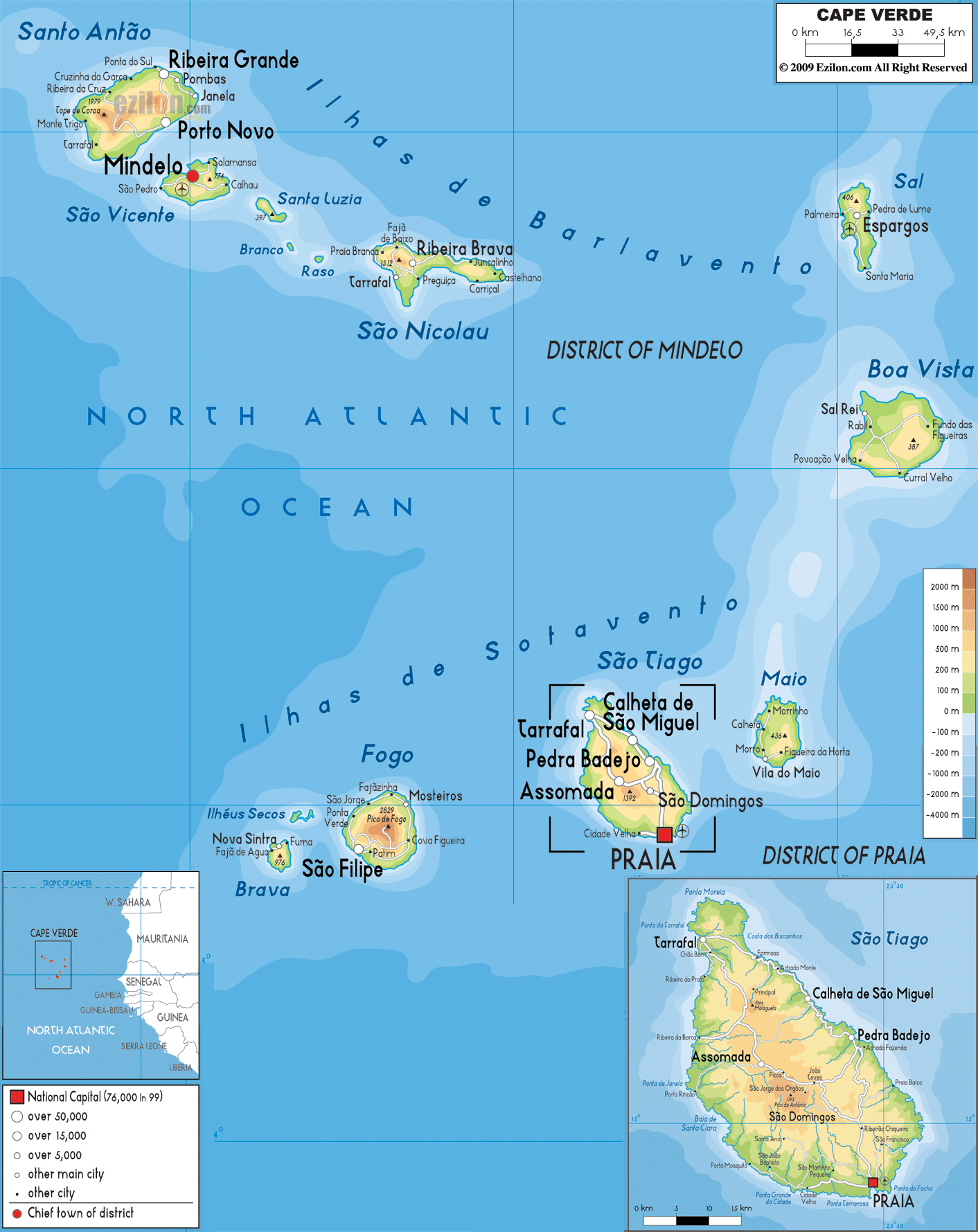 Large physical map of Cape Verde with roads cities and airports