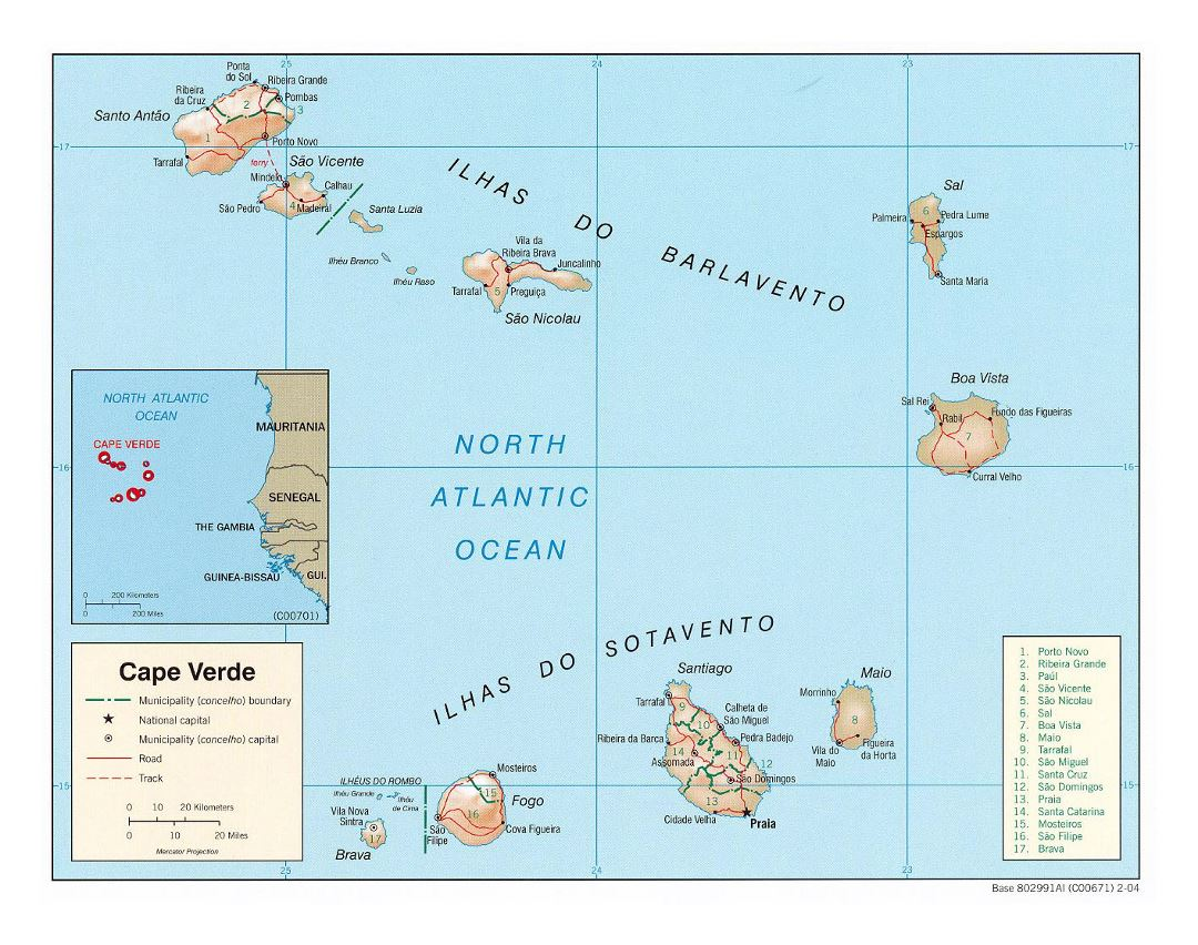 Large political and administrative map of Cape Verde with relief, roads and major cities - 2004