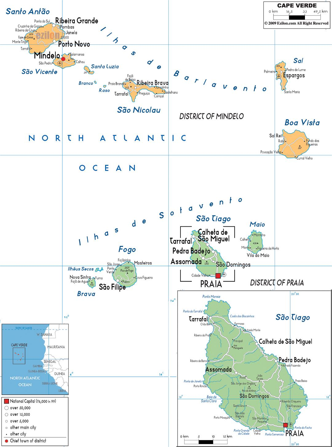 Large political and administrative map of Cape Verde with roads, cities and airports