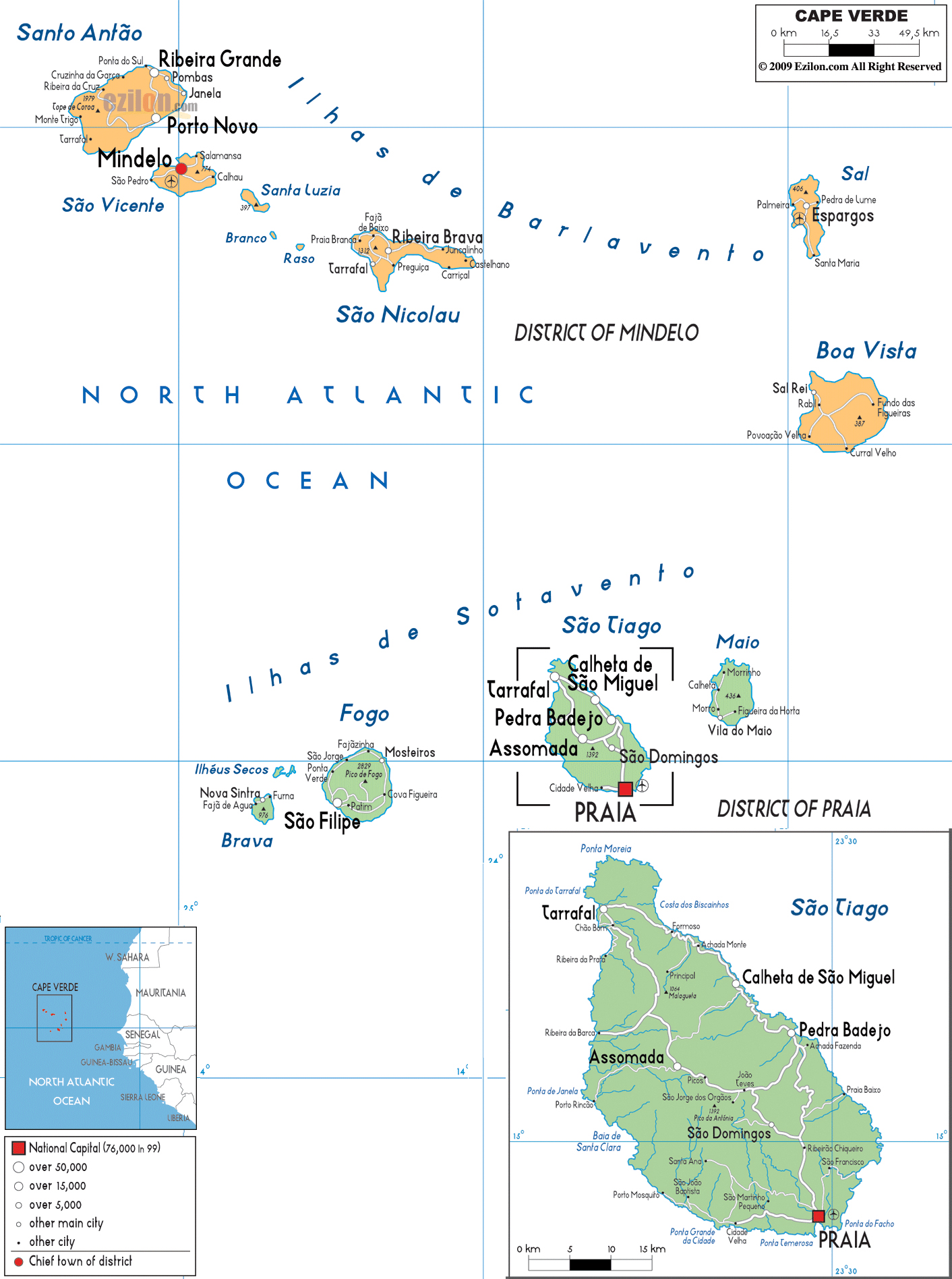 Large political and administrative map of Cape Verde with roads