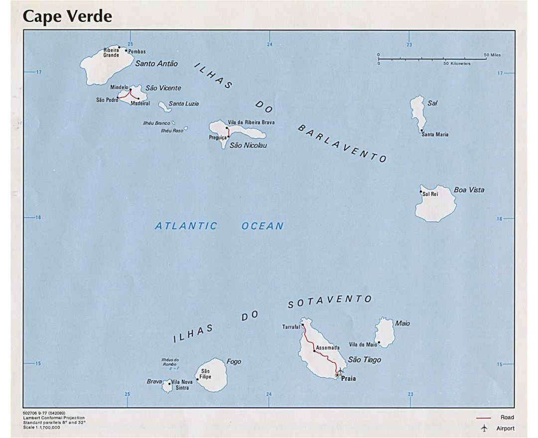 Large political map of Cape Verde with roads, major cities and airports - 1977