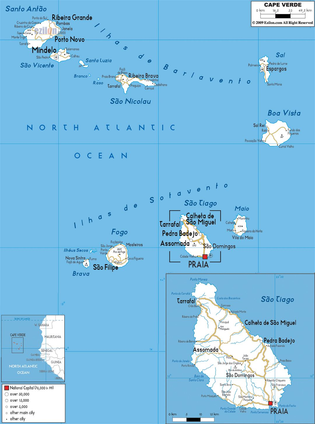 Large road map of Cape Verde with cities and airports