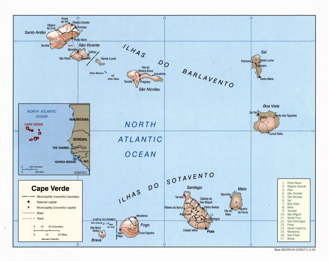 Large scale political and administrative map of Cape Verde with relief, roads and major cities - 2004