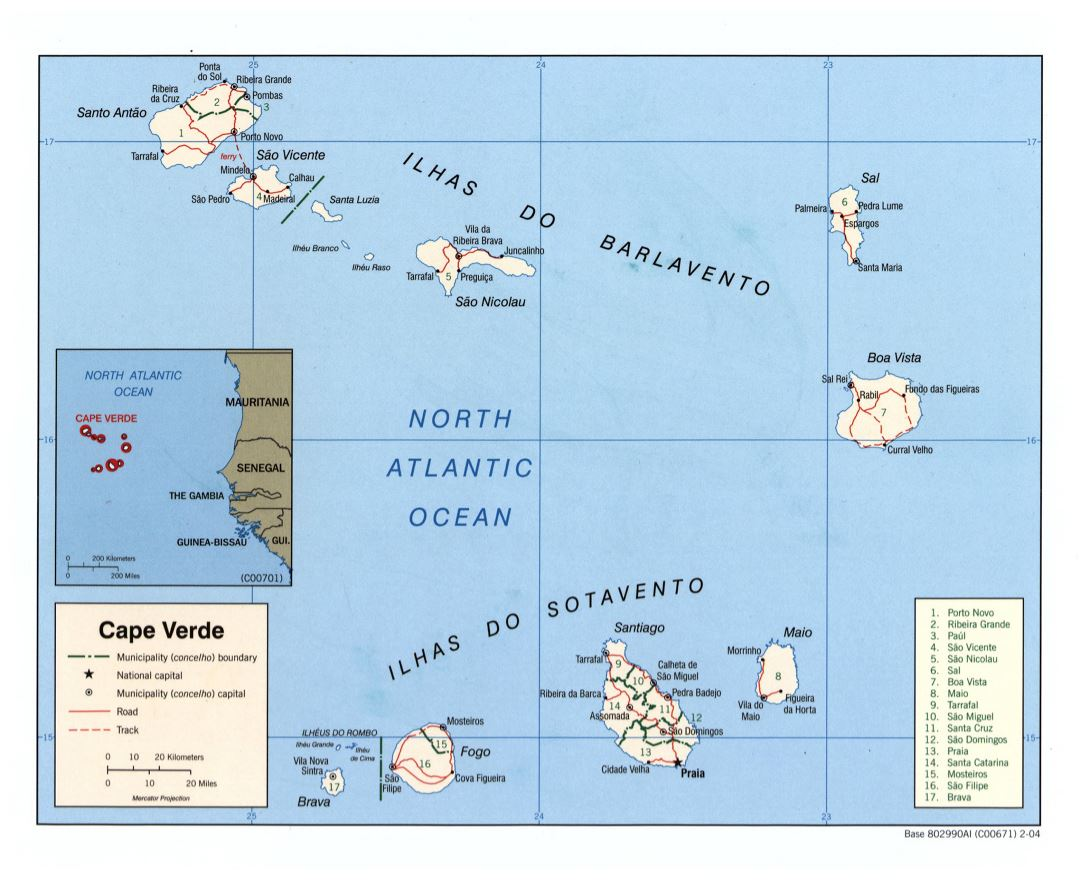 Maps of Cape Verde Detailed map of Cape Verde in English Tourist