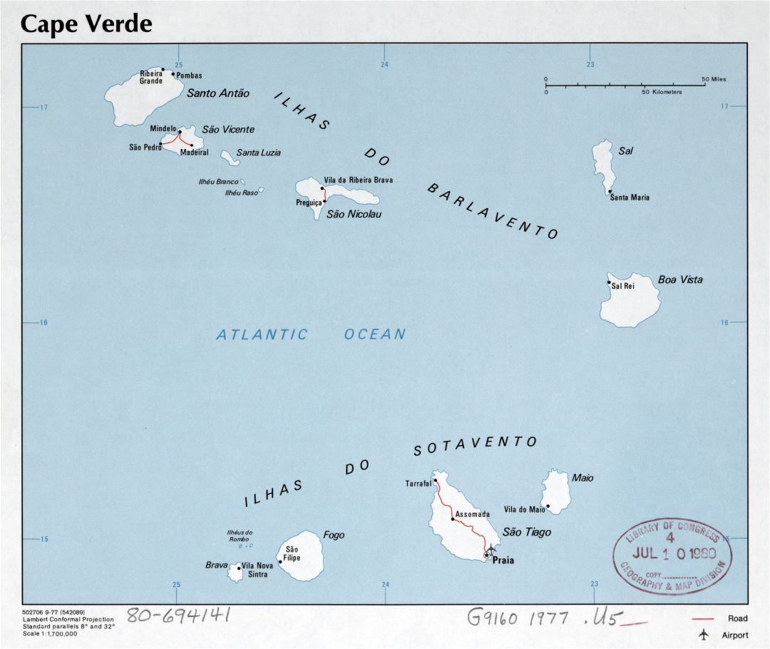 Large scale political map of Cape Verde with roads, major cities and airports - 1977