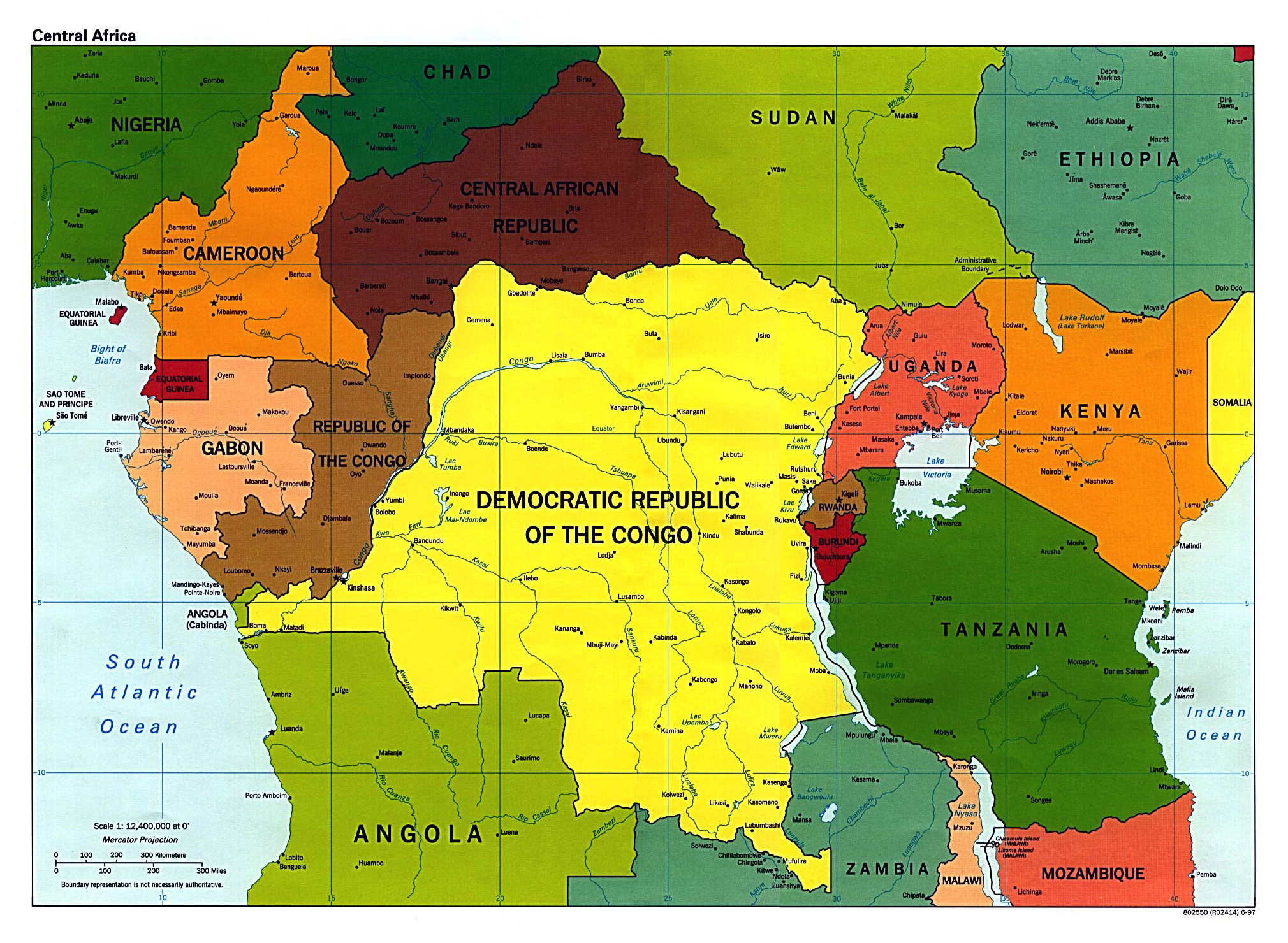 Large detailed political map of Central Africa with major cities