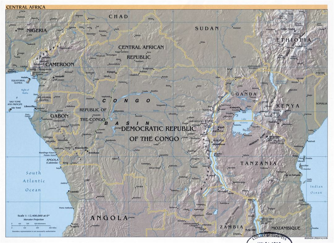 Large detailed political map of Central Africa with relief and major cities - 1999