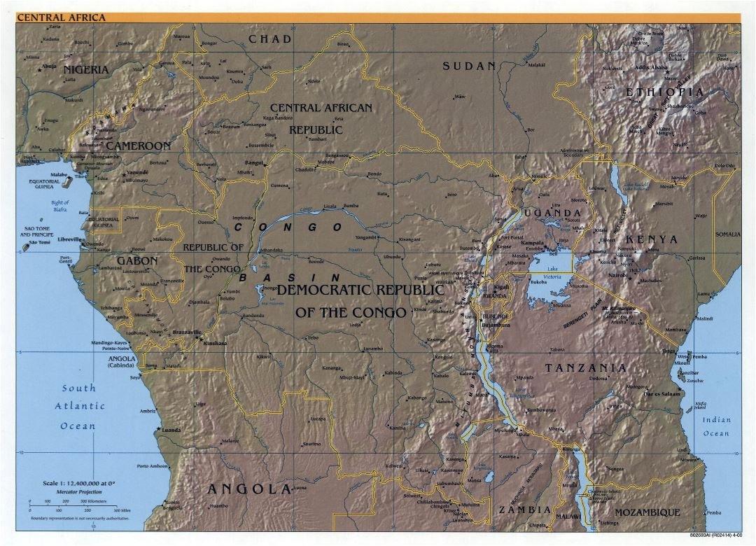 Large detailed political map of Central Africa with relief and major cities - 2000