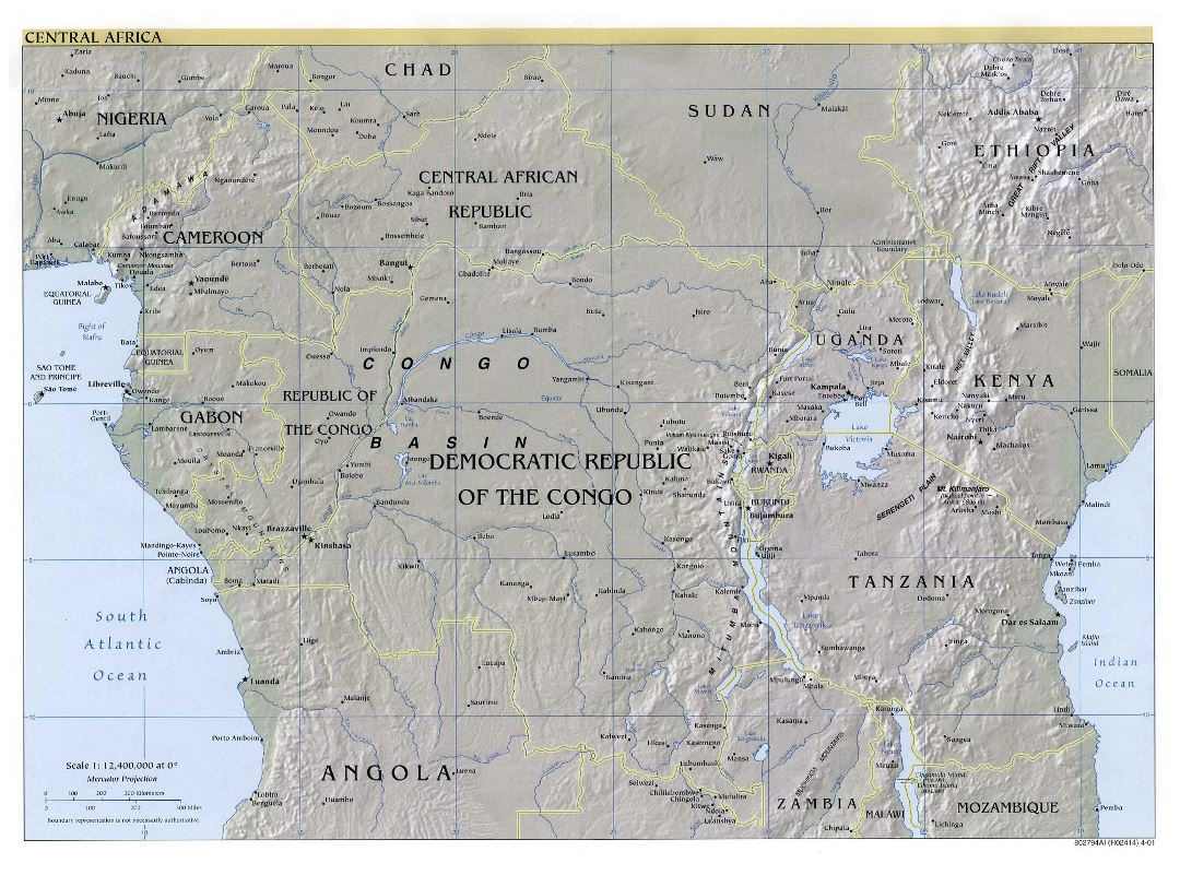 Large detailed political map of Central Africa with relief and major cities - 2001