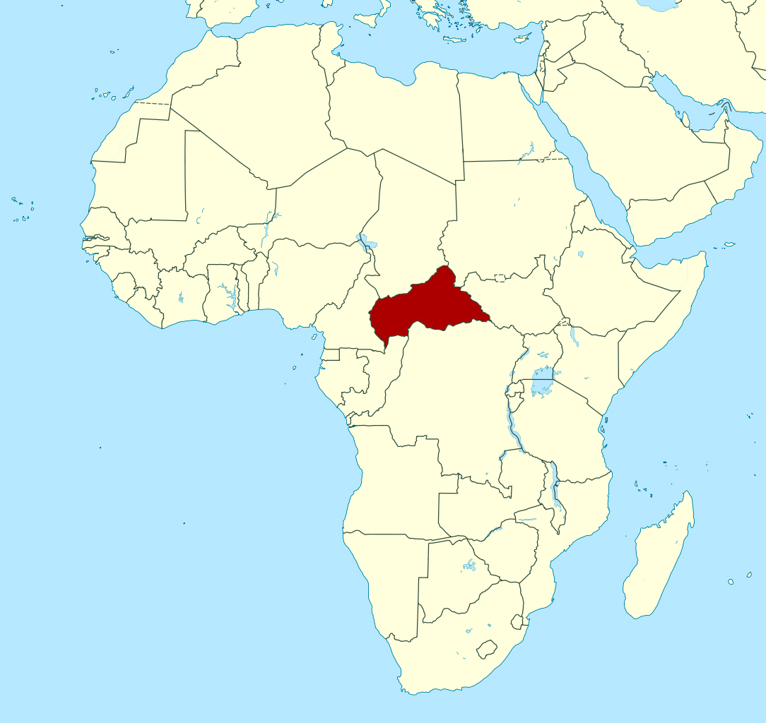 Detailed location map of Central African Republic in Africa