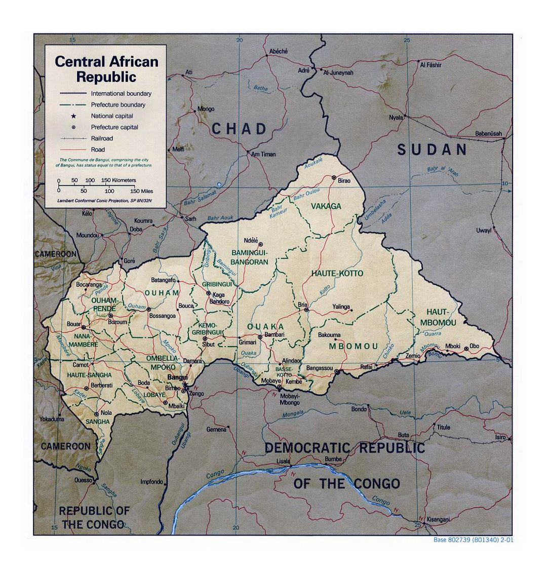 Detailed political and administrative map of Central African Republic with relief, roads, railroads and major cities - 2001