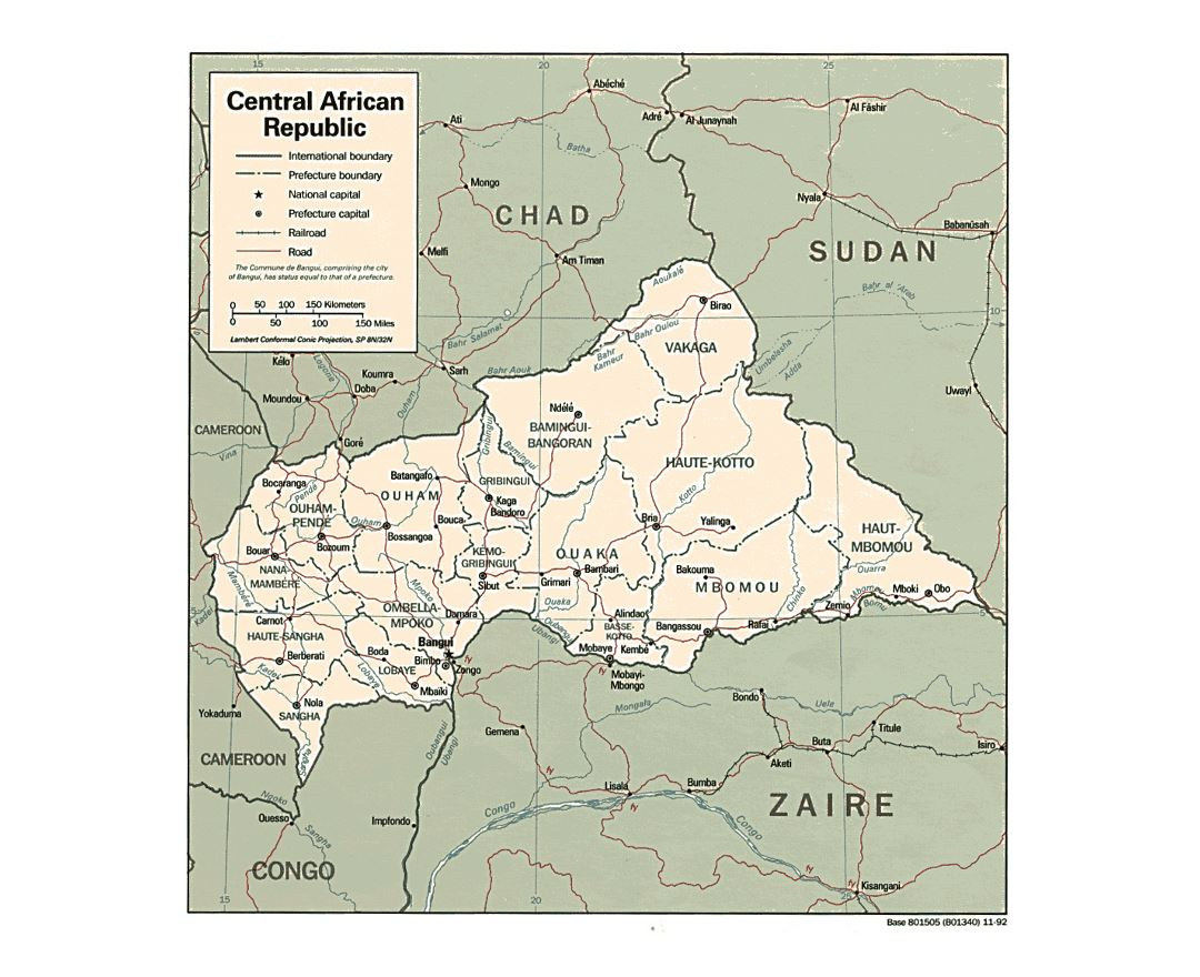 Detailed political and administrative map of Central African Republic with roads, railroads and major cities - 1992
