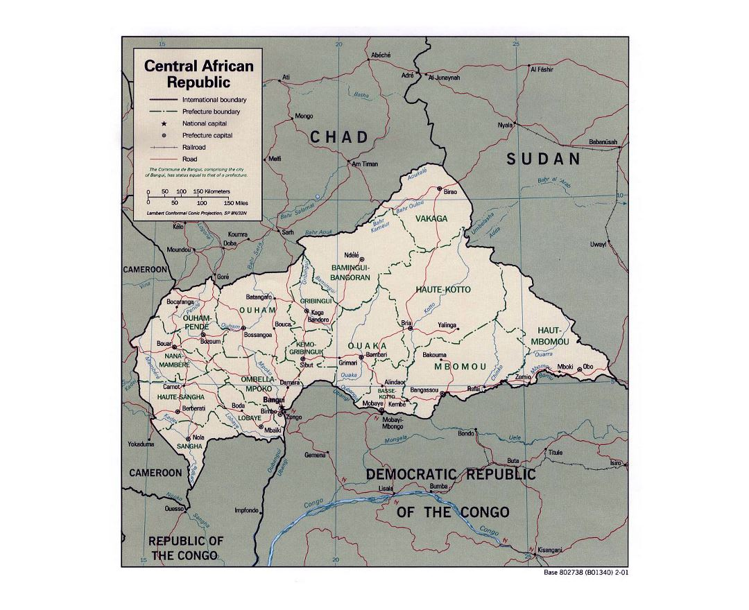 Detailed political and administrative map of Central African Republic with roads, railroads and major cities - 2001