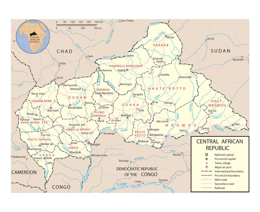 Detailed political and administrative map of Central African Republic with roads, railroads, major cities and airports