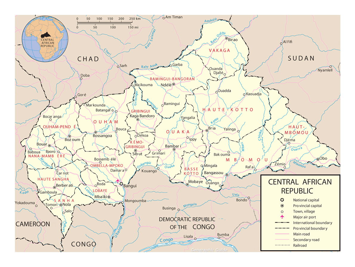 Detailed political and administrative map of Central African