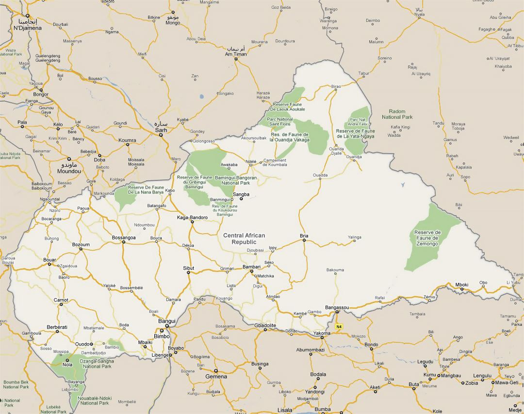 Detailed road map of Central African Republic with all cities