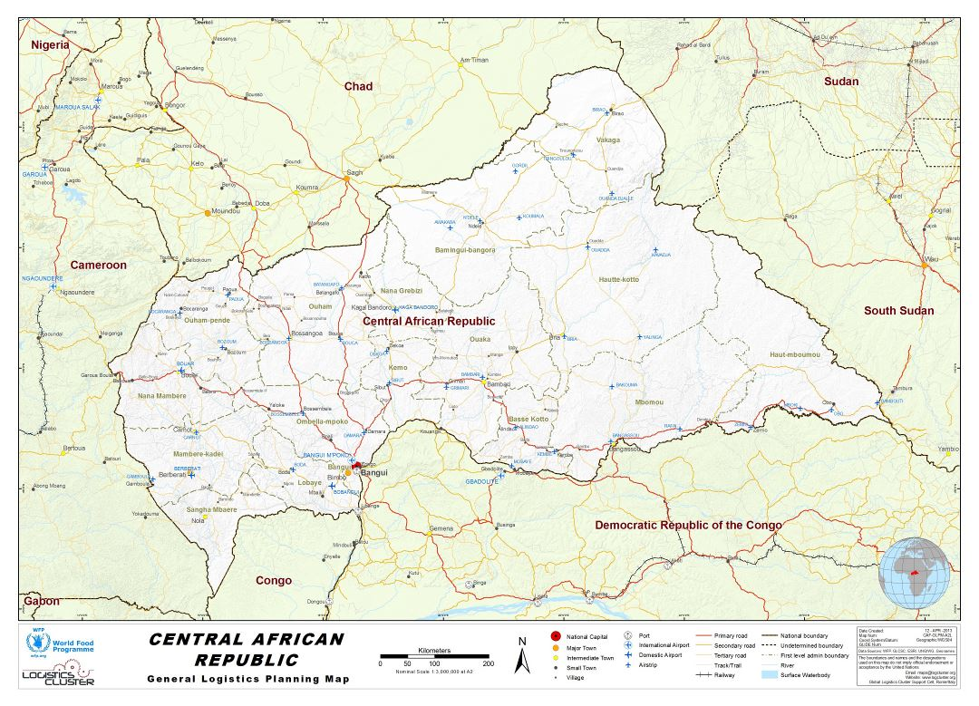 Large detailed map of Central African Republic with other marks