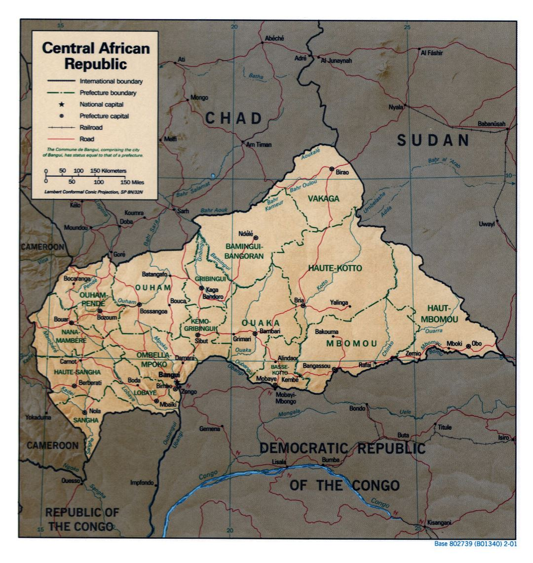 Large detailed political and administrative map of Central African Republic with relief, roads, railroads and major cities - 2001