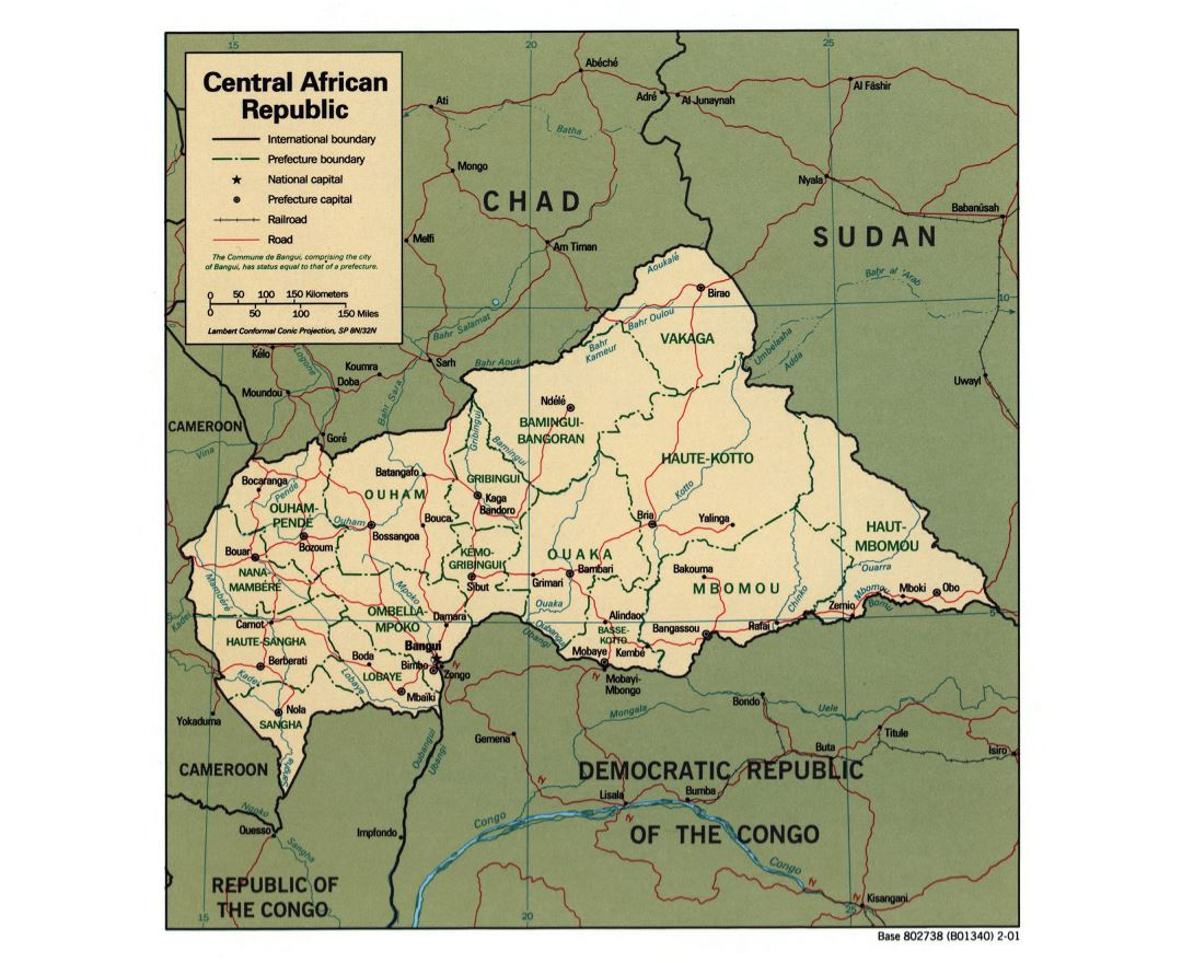 Large detailed political and administrative map of Central African Republic with roads, railroads and major cities - 2001
