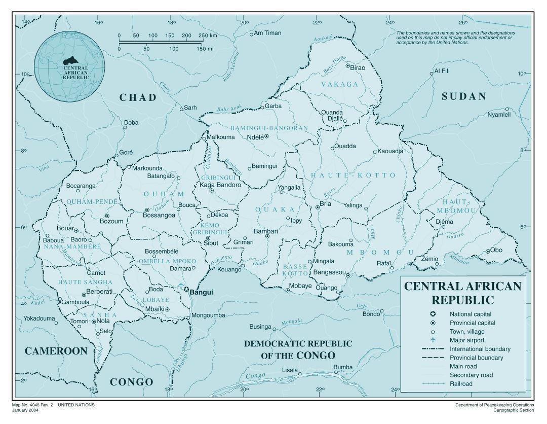 Large detailed political and administrative map of Central African Republic with roads, railroads, cities and airports