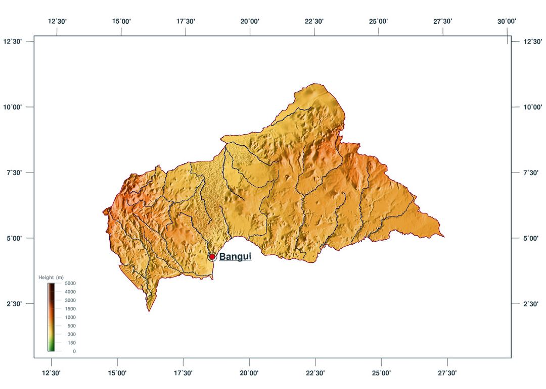 Large elevation map of Central African Republic