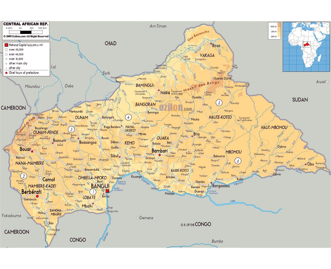 Large physical map of Central African Republic with roads, cities and airports