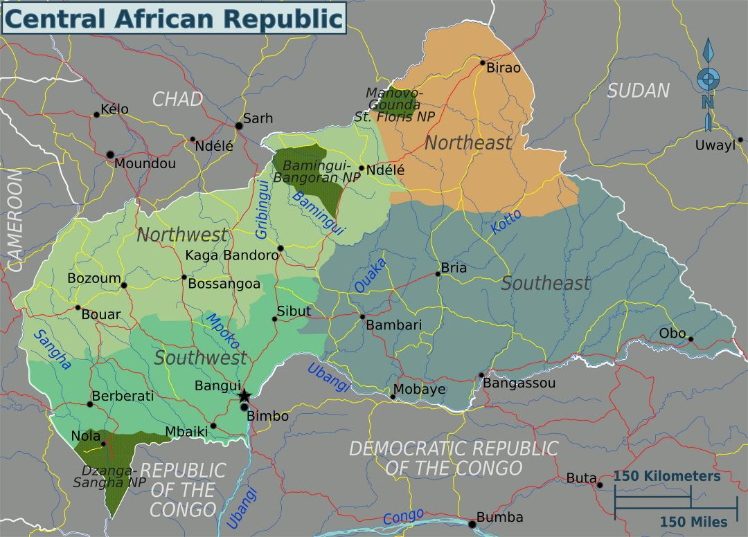 Large regions map of Central African Republic