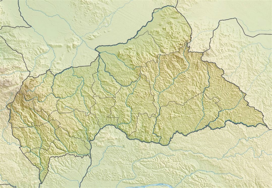 Large relief map of Central African Republic