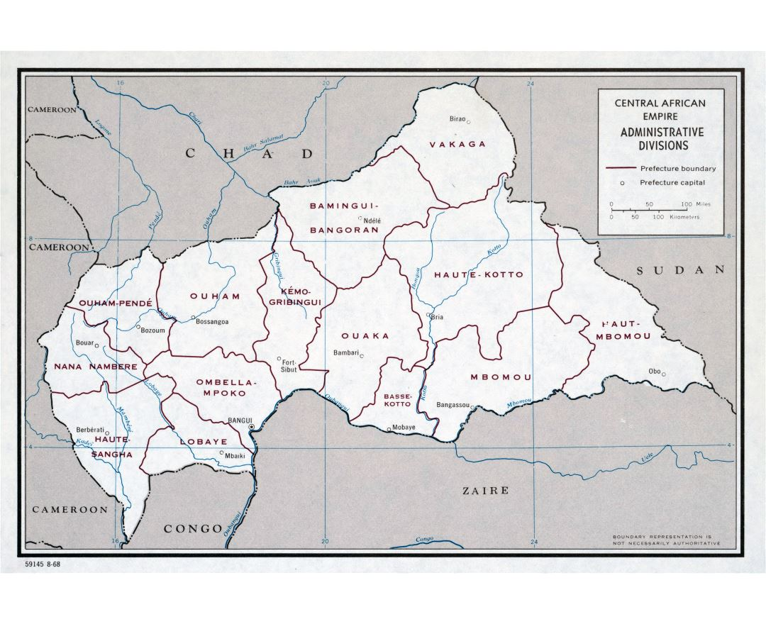 Large scale administrative divisions map of Central African Empire - 1968