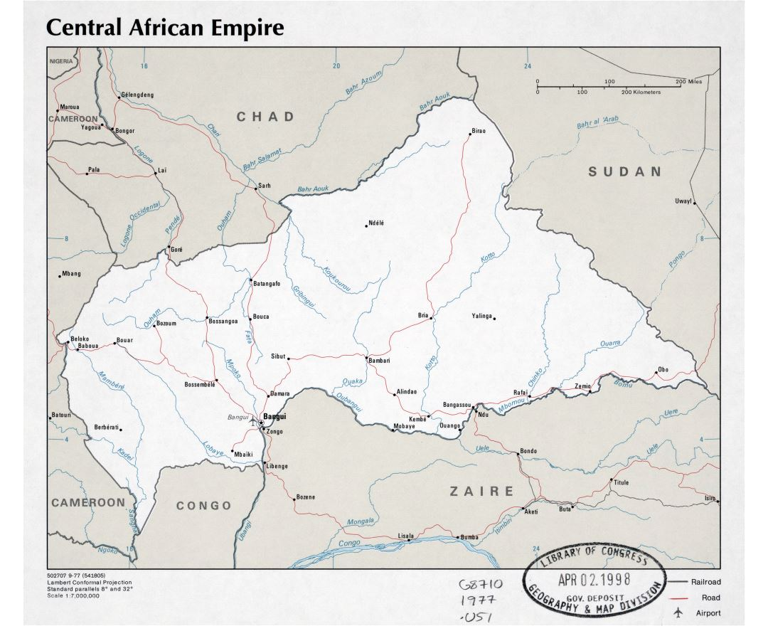 Large scale political map of Central African Empire with roads, cities and airports - 1977