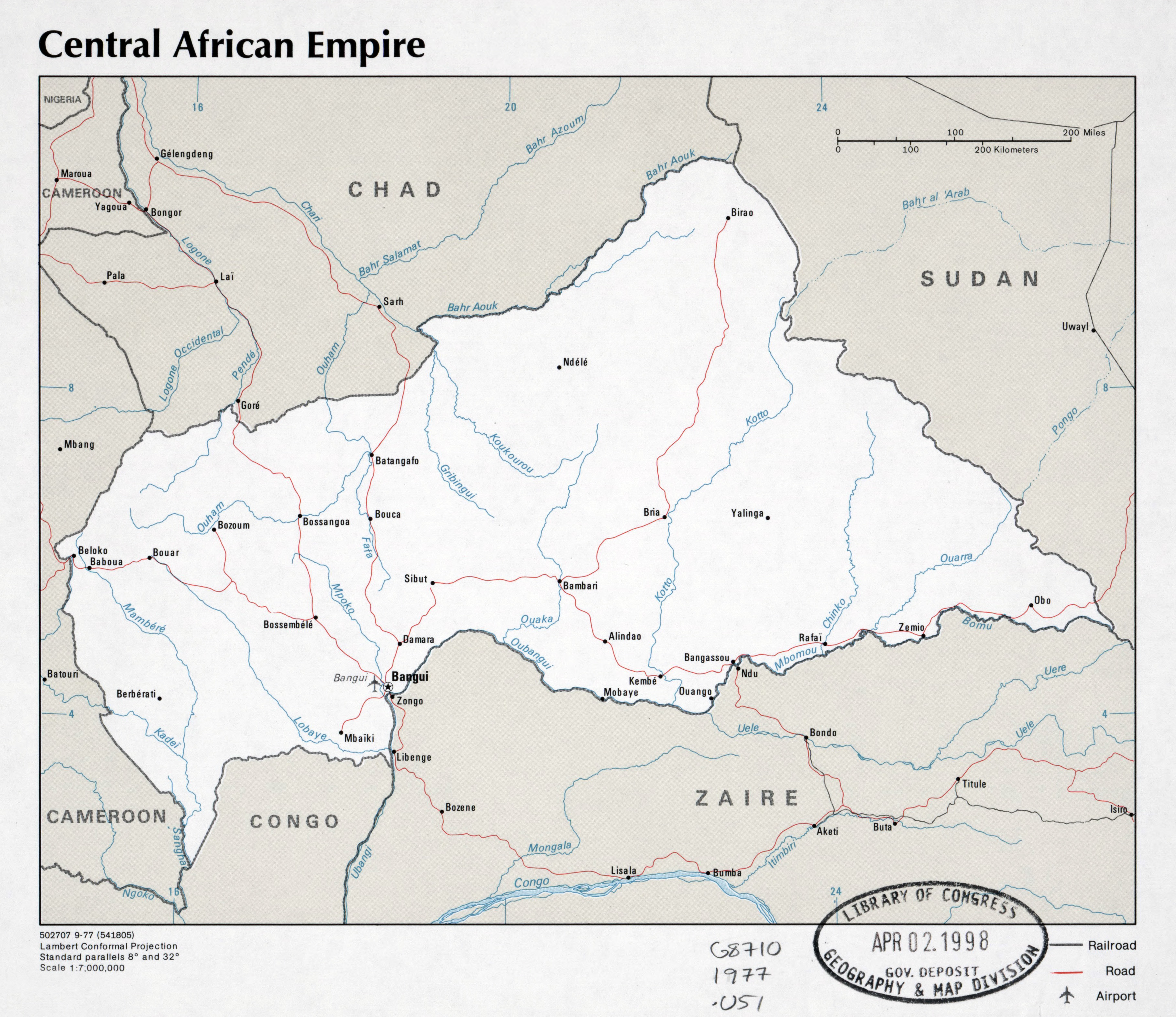 Large Scale Political Map Of Central African Empire With Roads