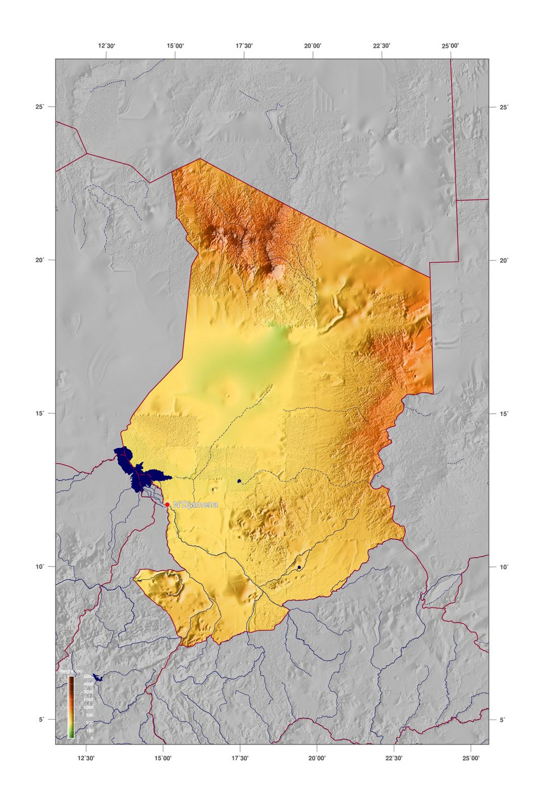 Detailed physical map of Chad