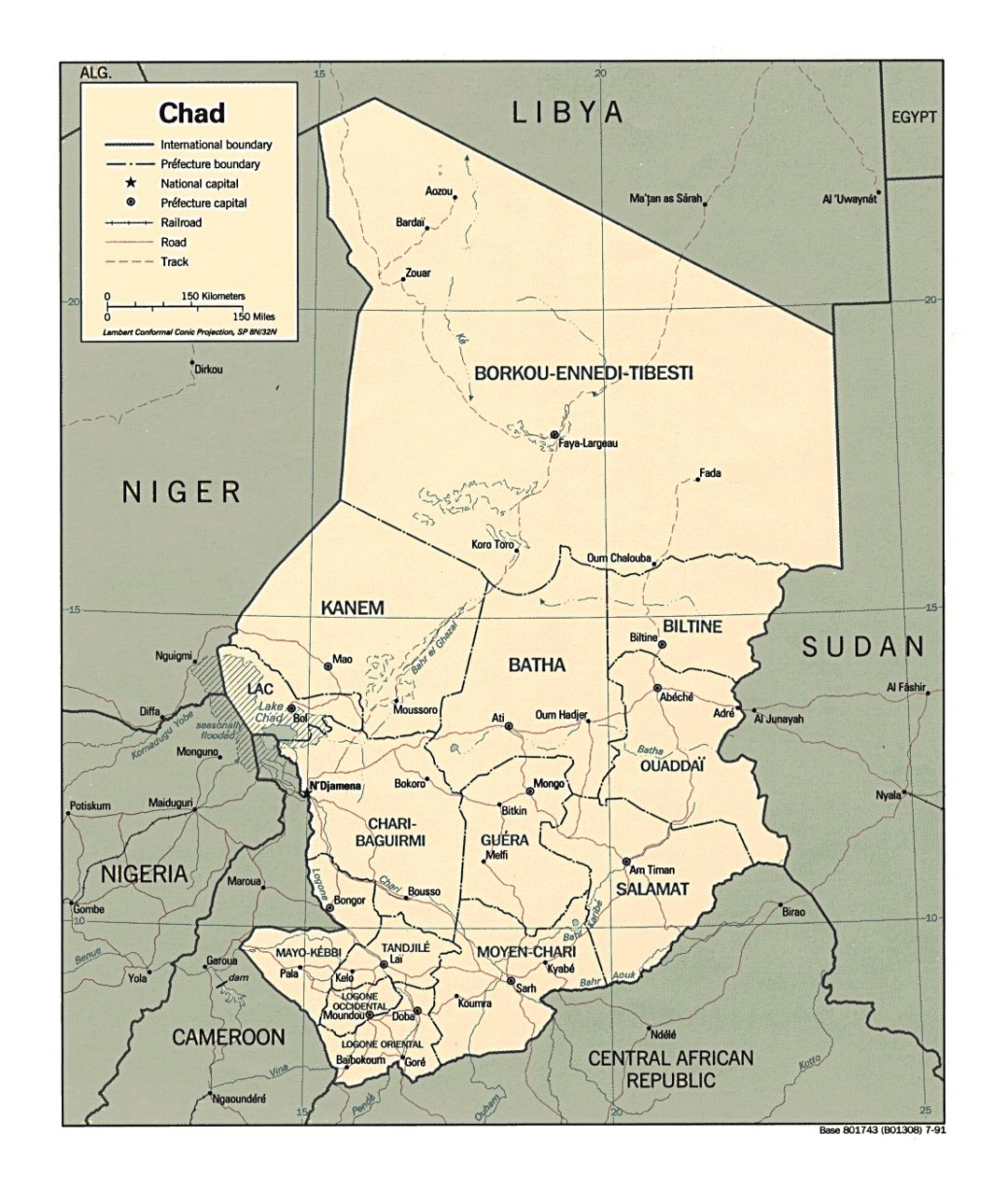 Detailed political and administrative map of Chad with roads and major cities - 1991