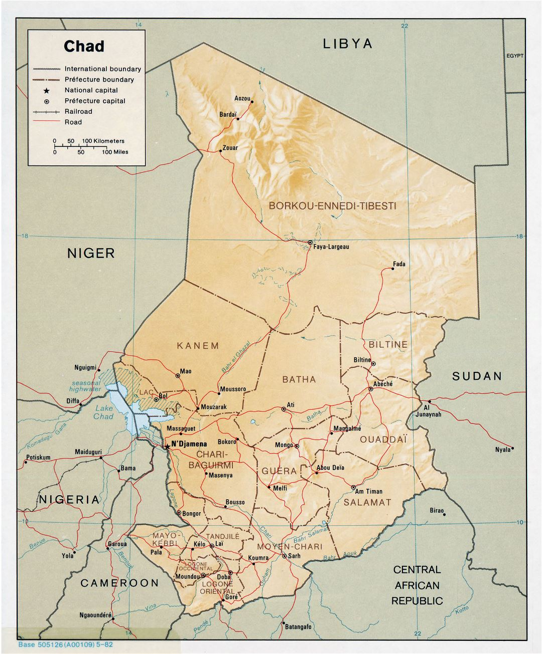 Large detailed political and administrative map of Chad with relief, roads and major cities - 1982