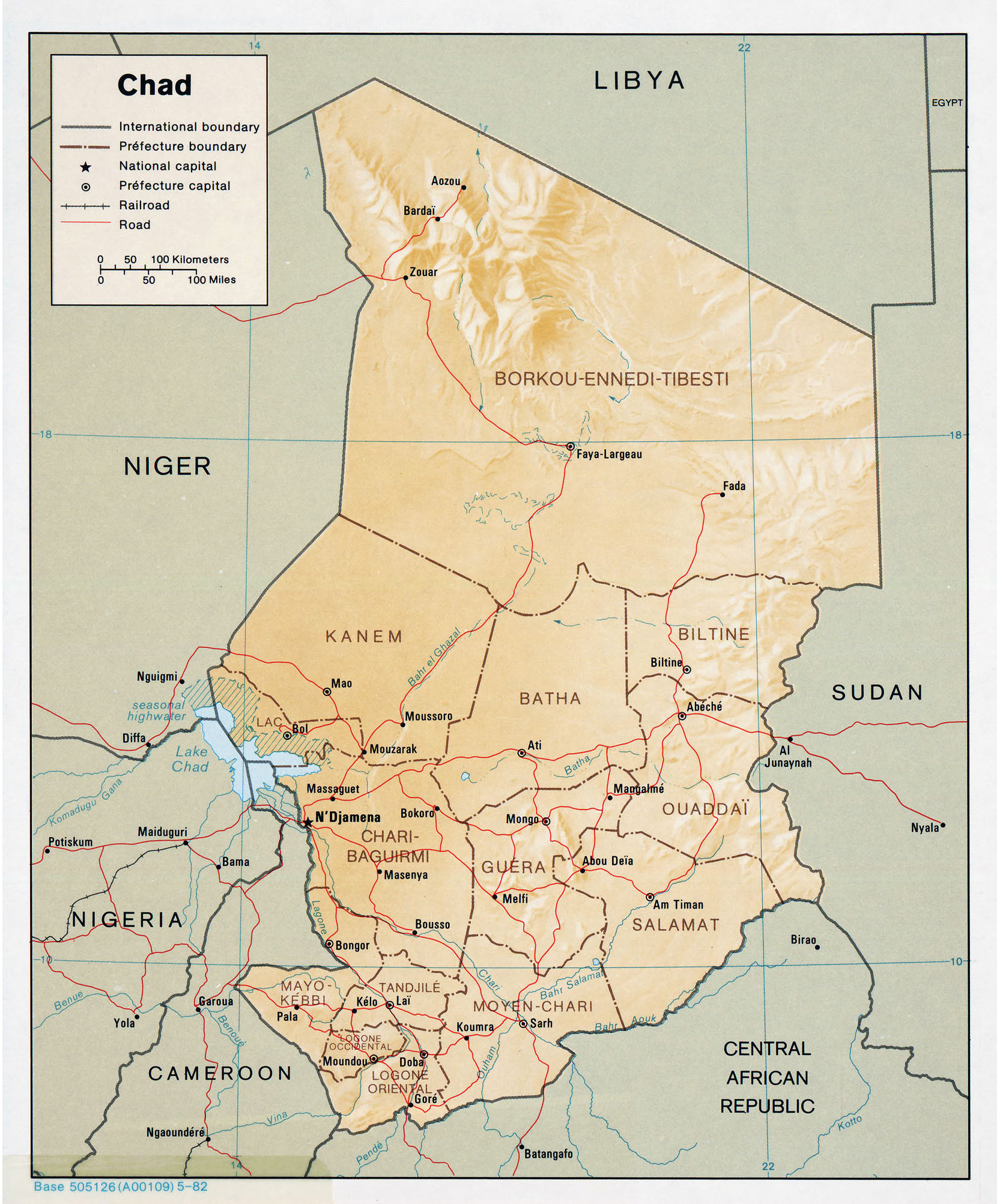 Large detailed political and administrative map of Chad with relief