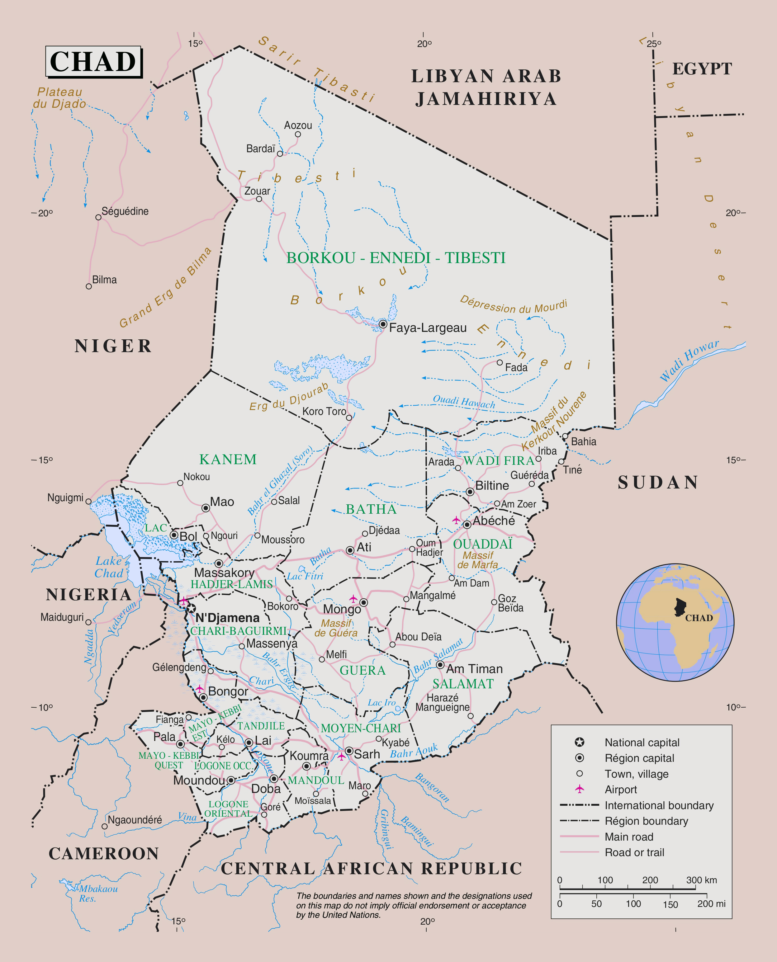 Large detailed political and administrative map of Chad with roads