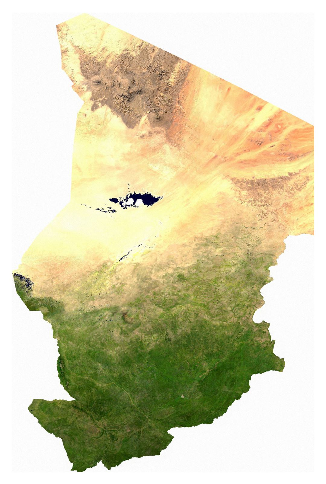 Large detailed satellite map of Chad