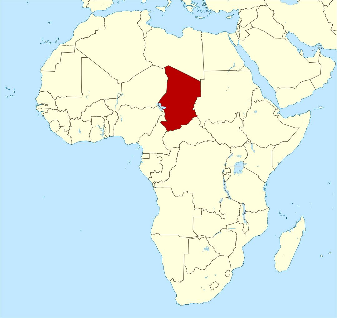 Large location map of Chad in Africa
