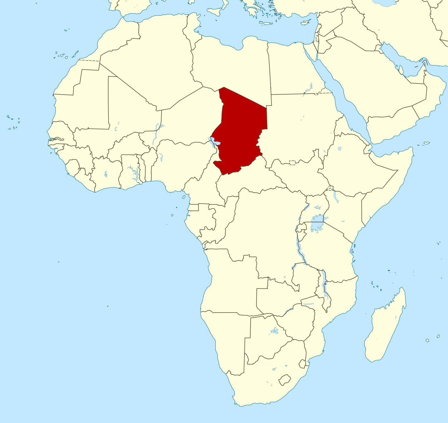 Large location map of Chad in Africa | Chad | Africa | Mapsland