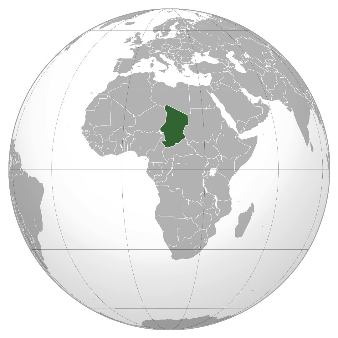 Large location map of Chad in the World