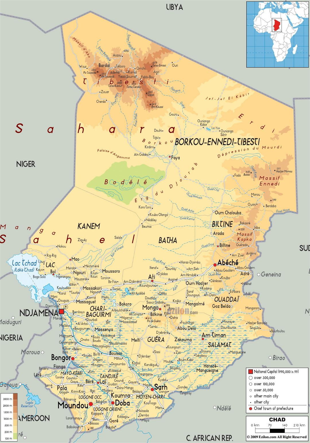 Large physical map of Chad with roads, cities and airports
