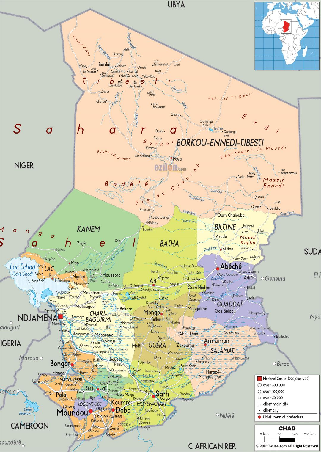 Large political and administrative map of Chad with roads, cities and airports