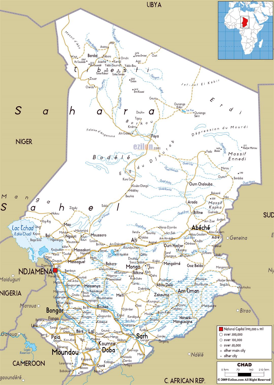 Large road map of Chad with cities and airports