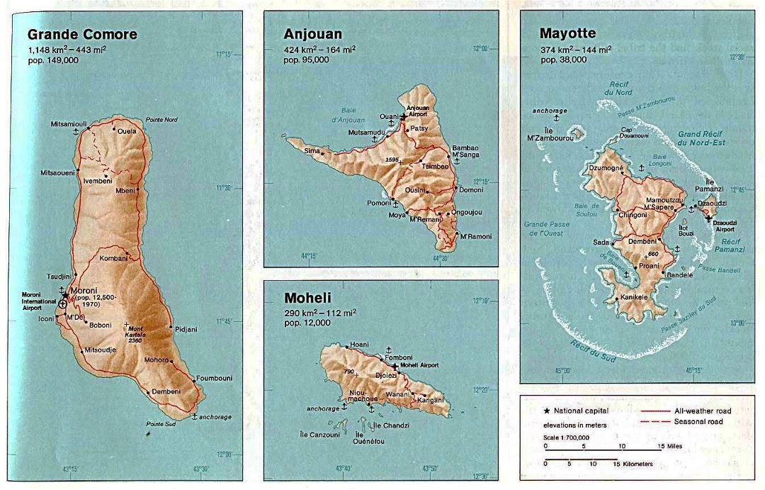 Detailed map of Comoros Islands with relief, roads, cities, ports and airports - 1976