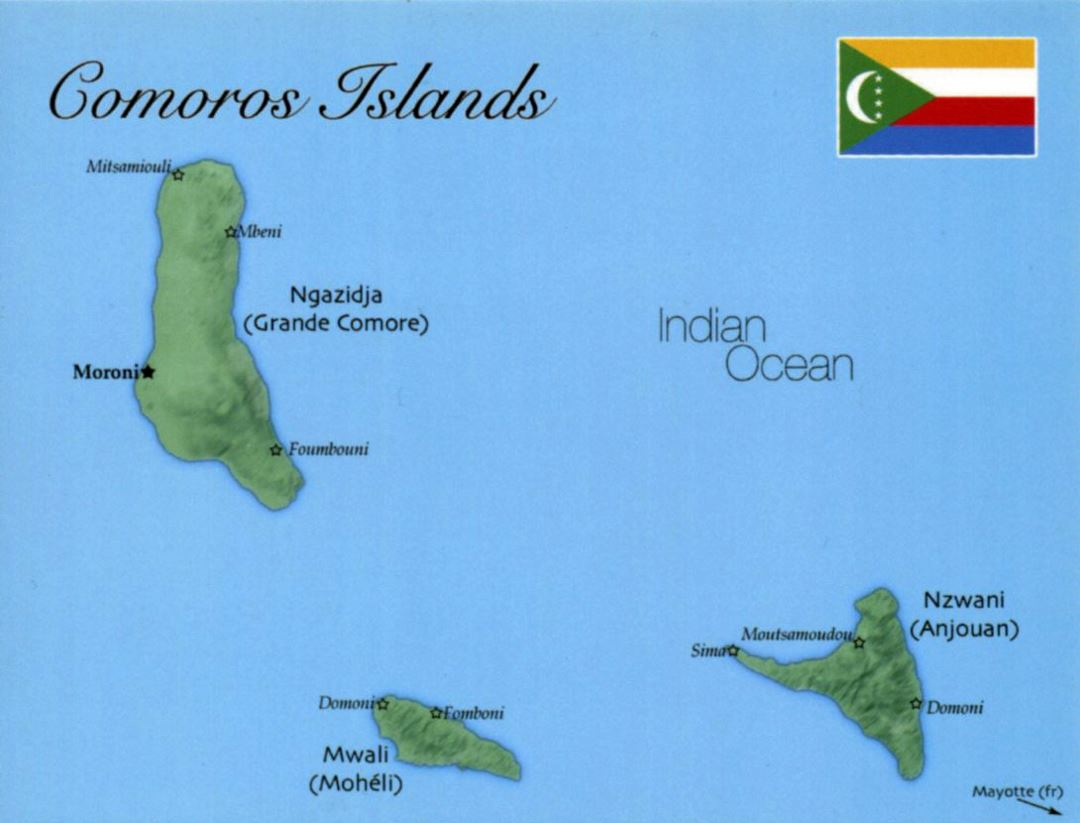 Detailed map of Comoros with flag
