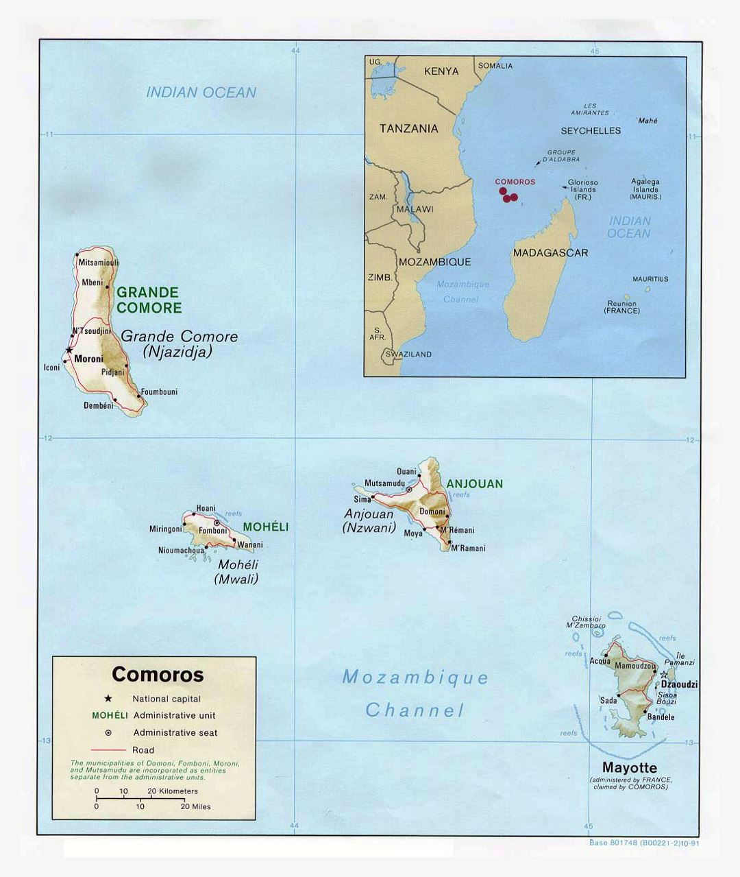 Detailed political map of Comoros with relief, roads and cities - 1991