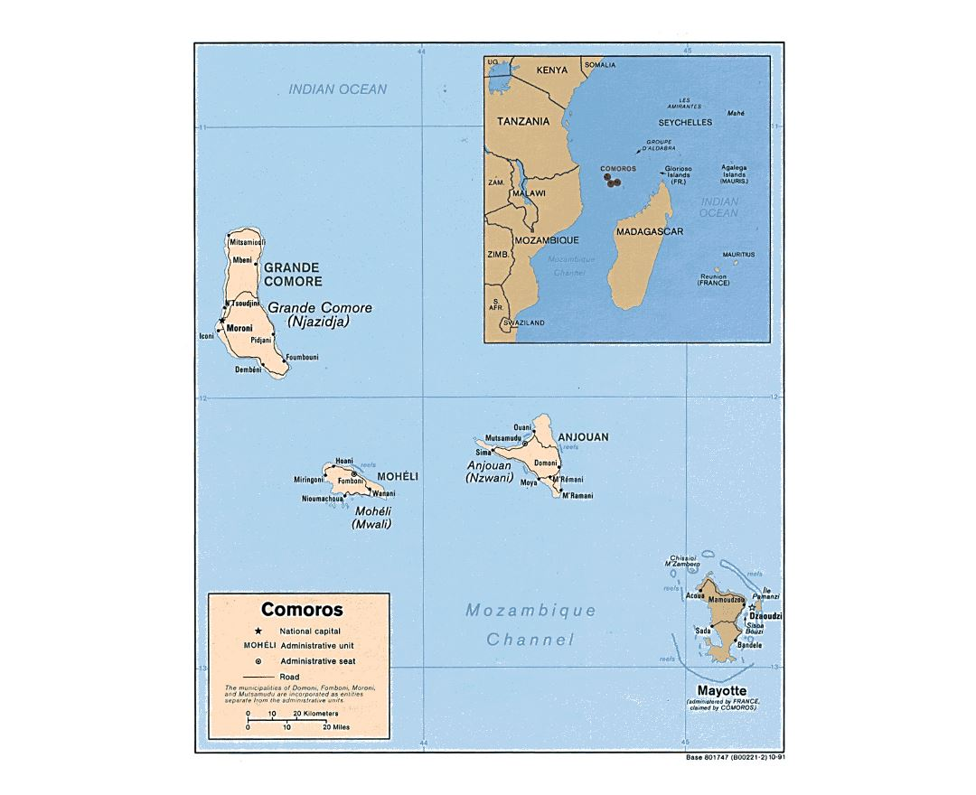 Detailed political map of Comoros with roads and cities - 1991