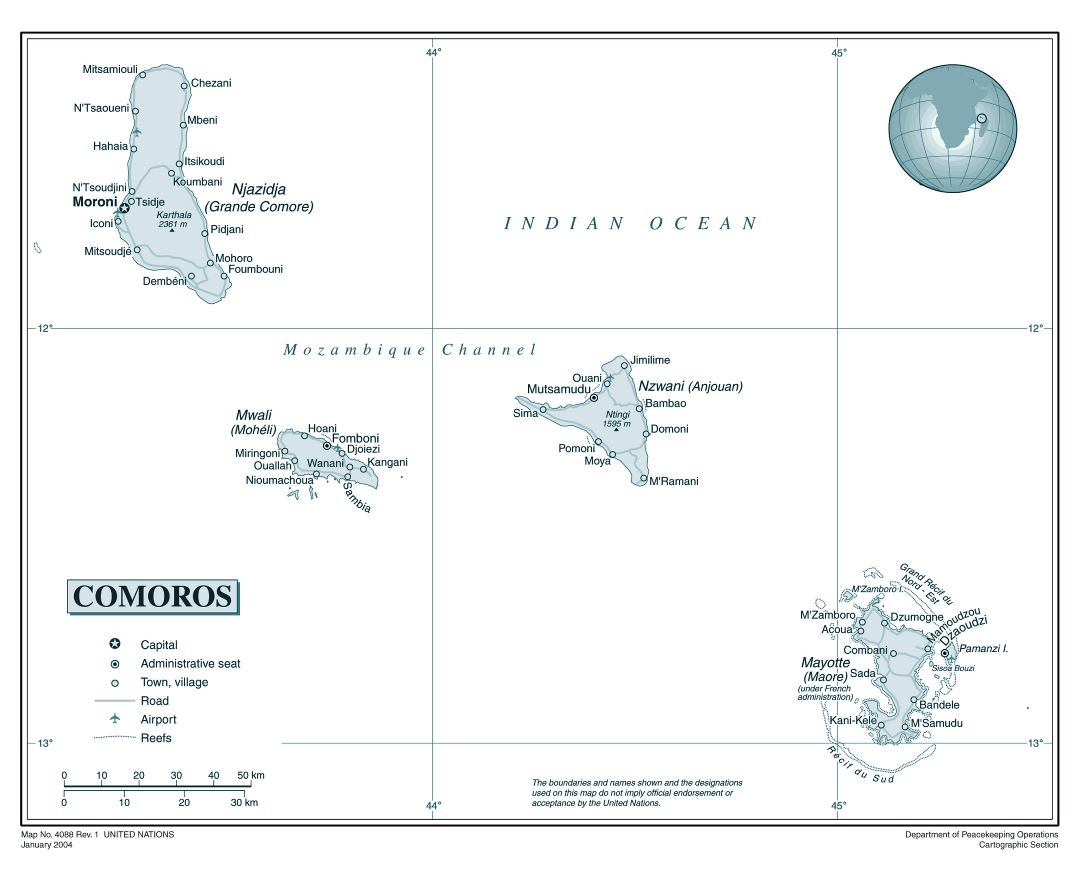 Large detailed political map of Comoros Islands with roads, cities and airports